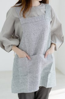 not PERFECT LINEN | SHORT SQUARE CROSS LINEN APRON | エプロン (small checks)