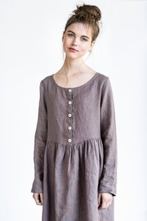 【SALE 50%オフ】not PERFECT LINEN | LINEN LOOSE MAMA DRESS WITH LONG SLEEVES AND FRONT BUTTONS (purple)