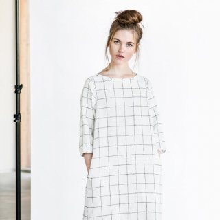 not PERFECT LINEN | WASHED AND SOFT LINEN DRESS (large checks)