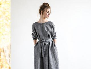 not PERFECT LINEN | Oversized loose linen dress long sleeves wool blend (dark grey)