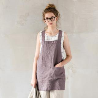 not PERFECT LINEN | SHORT SQUARE CROSS LINEN APRON | エプロン (mocha/purple)
