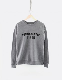 RESILIENCE | PERMANENTLY TIRED CREW NECK SWEATSHIRT (heather grey) | スウェット