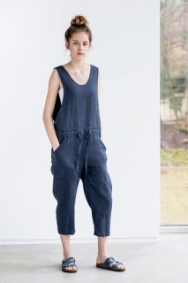 not PERFECT LINEN | LOOSE LINEN JUMPSUIT (charcoal) | UK 8