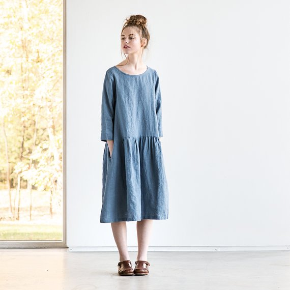 not perfect linen linen dress with sleeves and drop sides petrol blue. Black Bedroom Furniture Sets. Home Design Ideas