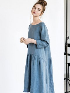 【在庫残り1】not PERFECT LINEN | Linen dress with sleeves and DROP SIDES (petrol blue)