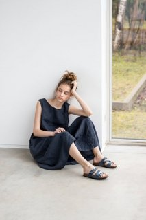 not PERFECT LINEN | Maxi washed linen summer dress (charcoal)