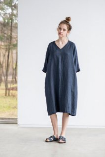 not PERFECT LINEN | washed linen KIMONO tunic (charcoal)