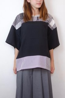 【SALE 30%オフ】spoken words project | stripes over shirts (black stripes) | トップス