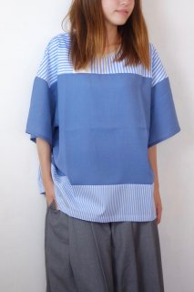 【SALE 30%オフ】spoken words project | stripes over shirts (blue stripes) | トップス