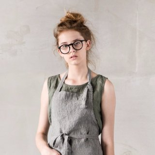 not PERFECT LINEN | WASHED TRADITIONAL LINEN APRON (stripes) | エプロン