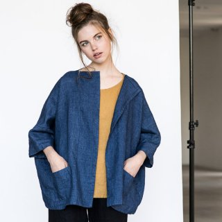 not PERFECT LINEN | Washed oversized short linen cardigan/jacket(blue linen/wool blend)