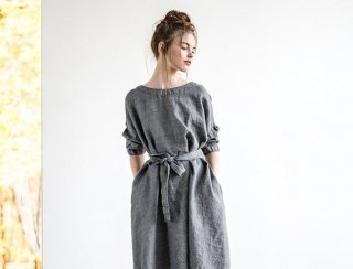 not PERFECT LINEN | Oversized loose linen dress long sleeves wool blend (dark grey) | 着丈95cm