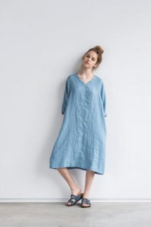 not PERFECT LINEN | washed linen KIMONO tunic (swedish blue) | 着丈95cm