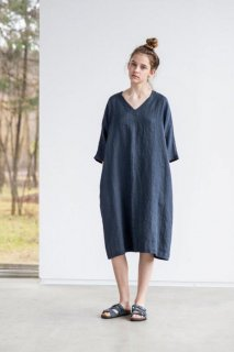 not PERFECT LINEN | washed linen KIMONO tunic (charcoal) | 着丈95cm