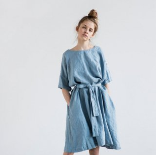 not PERFECT LINEN | OVERSIZED LOOSE LINEN SUMMER DRESS (swedish blue) | 着丈95cm