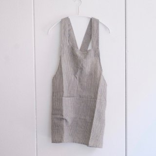 not PERFECT LINEN | SHORT SQUARE CROSS LINEN APRON | エプロン (stripes)
