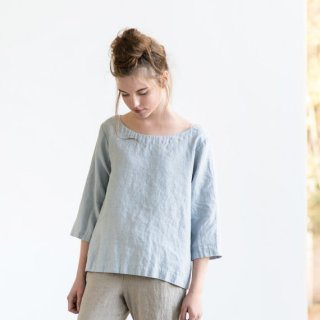 not PERFECT LINEN | Washed linen top JANUARY (ice blue/silver grey) | トップス