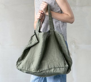 not PERFECT LINEN | LARGE LINEN TOTE BAG (forest green) | トートバッグ