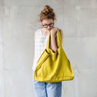 not PERFECT LINEN | LARGE LINEN TOTE BAG (greenish mustard) | トートバッグ