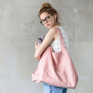 not PERFECT LINEN | LARGE LINEN TOTE BAG (blossom-peach) | トートバッグ