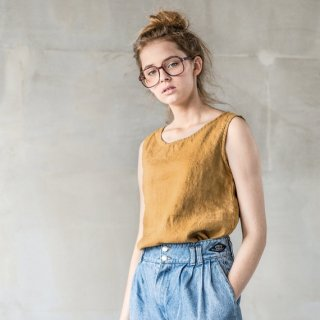 not PERFECT LINEN | LINEN TANK TOP (amber yellow) | タンクトップ | レディース UK10/S-M