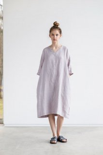 【在庫残り1】not PERFECT LINEN | washed linen KIMONO tunic (ashes of rose) | 着丈95cm