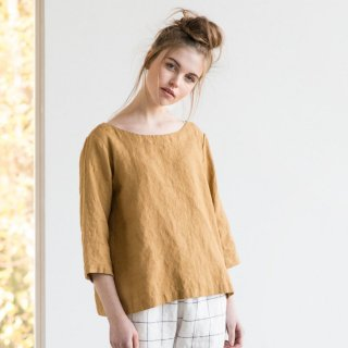 not PERFECT LINEN | Washed linen top JANUARY (amber yellow) UK8/S | トップス