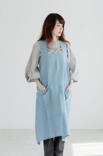 not PERFECT LINEN | PINAFORE - SQUARE CROSS LINEN APRON (swedish blue) | エプロン