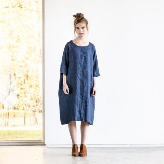 not PERFECT LINEN | washed linen KIMONO tunic (blue linen/wool blend/round neck) | 着丈95cm