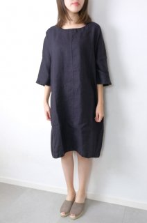 not PERFECT LINEN | washed linen KIMONO tunic (black linen/wool blend/round neck) | 着丈95cm