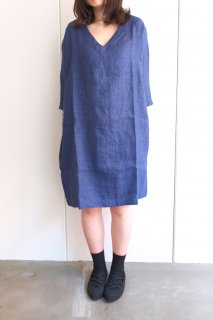 not PERFECT LINEN | washed linen KIMONO tunic (blue linen/wool blend/ v neck) | 着丈90cm