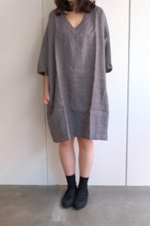 not PERFECT LINEN | washed linen KIMONO tunic (gray linen/wool blend/v neck) | 着丈90cm