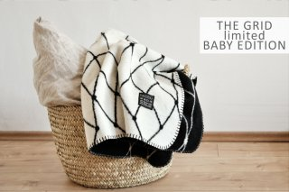 bastisRIKE | THE GRID - COTTON BABY BLANKET (black and white) | ベビーブランケット【75x100cm】
