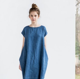 not PERFECT LINEN | linen cocoon dress (denim) | 着丈90cm