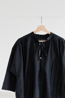 the last flower of the afternoon | 追懐のsmock blouse (black) | ブラウス