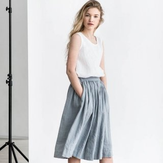 not PERFECT LINEN | linen skirt with deep pockets (light grey)