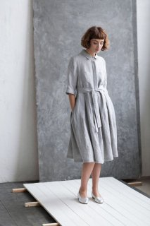 OffOn | shirt linen dress (light grey) | シャツワンピース | 着丈90cm