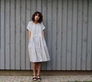 OffOn | short sleeve linen dress (grey stripe) | ワンピース | 着丈95cm