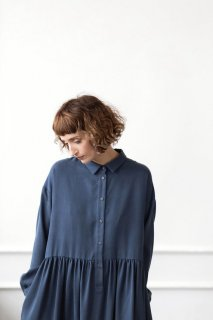 OffOn | long sleeve shirt dress (navy) | ワンピース | 着丈95cm