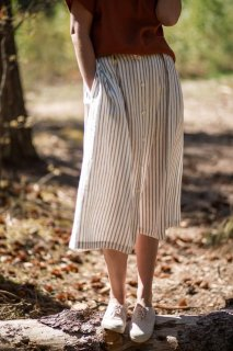 OffOn | linen woman skirt (grey stripe) | スカート | UK 8