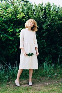 OffOn | 3/4 Sleeve Dress (ivory) | ワンピース | 着丈95cm