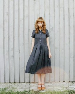OffOn | short sleeve linen dress (charcoal grey) | ワンピース | 着丈95cm