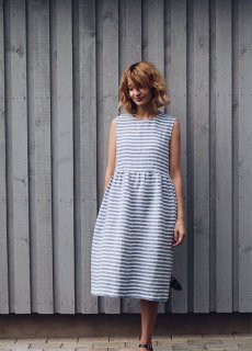 OffOn | sleevless linen dress (blue stripe) | ワンピース | 着丈95cm