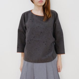 "rikolekt | ""memoryscapes""ブラウス  (charcoal) 