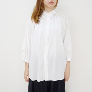 STAMP AND DIARY |  ギャザーチュニックシャツ7分袖 (white) | シャツ