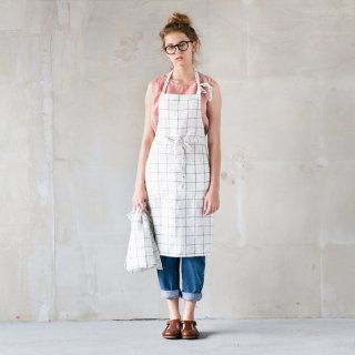 not PERFECT LINEN | WASHED TRADITIONAL LINEN APRON (large checks) | エプロン