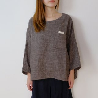 the last flower of the afternoon | 灰の帷 pullover shirt (brown) | プルオーバーシャツ