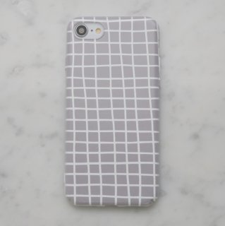【ネコポス送料無料】DESSI DESIGNS | CROSS STRIPES / GRID (light grey) | iPhone 7ケース