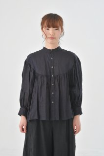 the last flower of the afternoon | 青藍のlinen round yoke blouse (black) | ブラウス