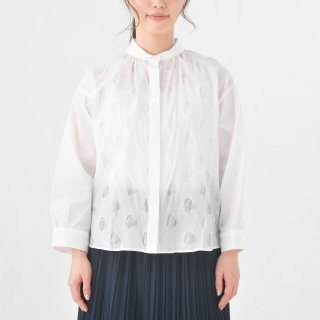 STAMP AND DIARY | ビッグブラウス7分袖 (dot/white) | トップス